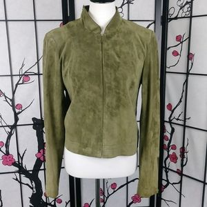 600 West Suede Soft Olive Bomber Jacket Leather